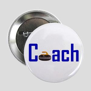 """Curling Coach Blue 2.25"""" Button"""