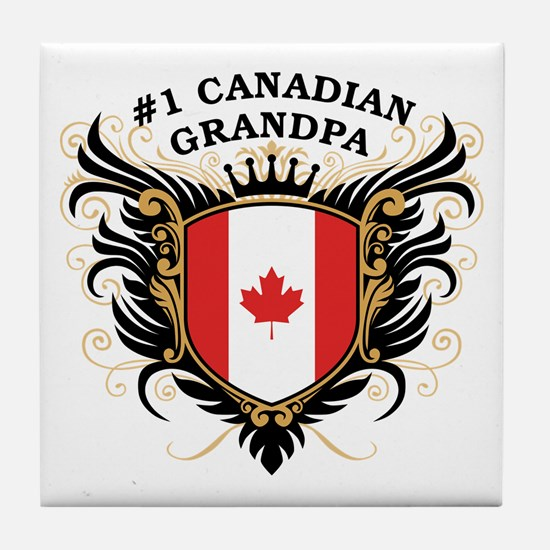 Number One Canadian Grandpa Tile Coaster