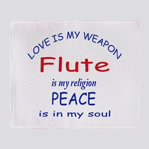 Flute is my religion Throw Blanket