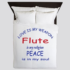 Flute is my religion Queen Duvet