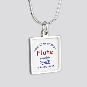 Flute is my religion Silver Square Necklace
