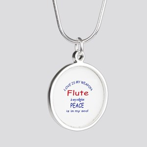 Flute is my religion Silver Round Necklace