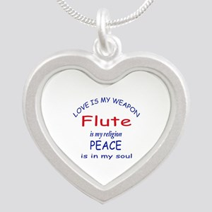Flute is my religion Silver Heart Necklace