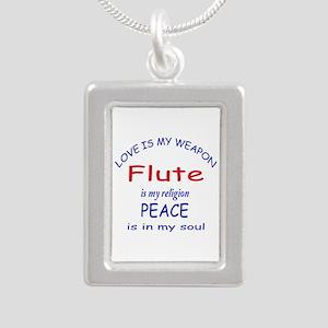 Flute is my religion Silver Portrait Necklace