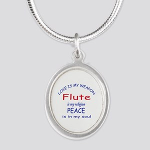 Flute is my religion Silver Oval Necklace