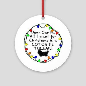Dear Santa Coton de Tulear Christmas Ornament