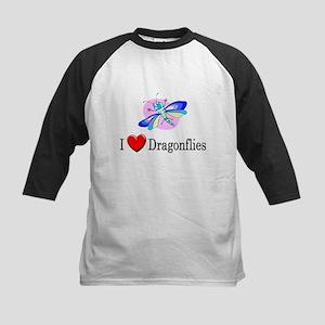 I Love Dragonflies Kids Baseball Jersey