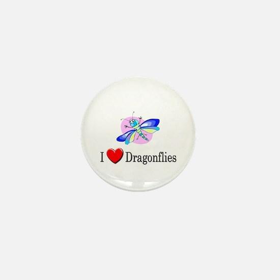 I Love Dragonflies Mini Button