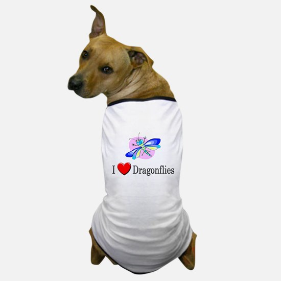 I Love Dragonflies Dog T-Shirt