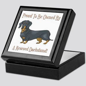 Proudly Owned By A Rescued Dachshund Keepsake Box