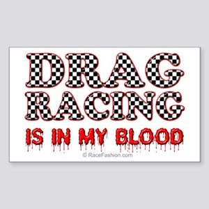 Drag Racing Blood Rectangle Sticker