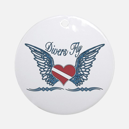 Divers Fly Tattoo Ornament (Round)