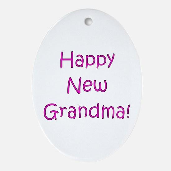 Happy New Grandma! Oval Ornament