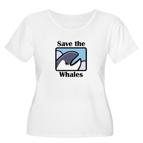 Save the Whales Women's Plus Size Scoop Neck T-Shi