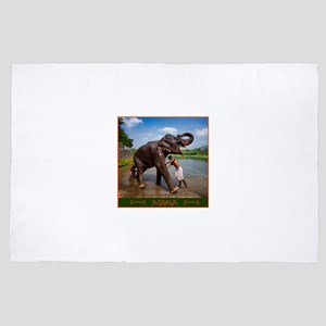 Bathing a Young Elephant in Kerala, India 4' x 6'