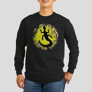 Dot Painting Lizard Long Sleeve Dark T-Shirt