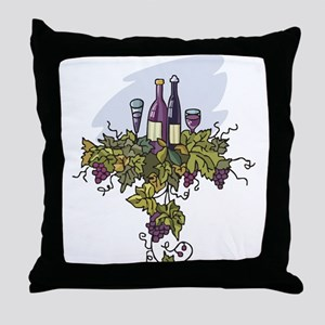 COUPLE BOTTLES OF WINE Throw Pillow