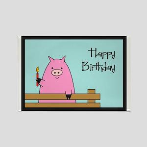 Birthday Pig Rectangle Magnet