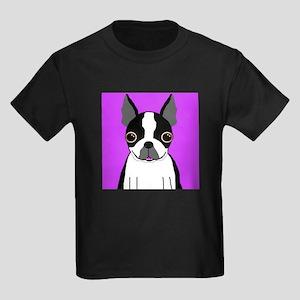 Boston Terrier (Black) Kids Dark T-Shirt