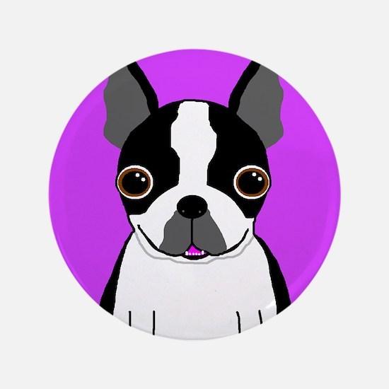 "Boston Terrier (Black) 3.5"" Button"