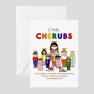 """I Help CHERUBS"" Doctor Caudine Logo Greeting Card"