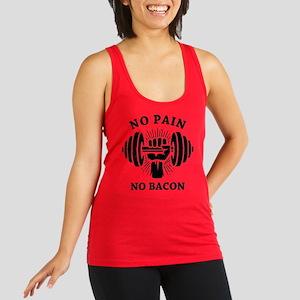 No Pain No Bacon BLK Racerback Tank Top