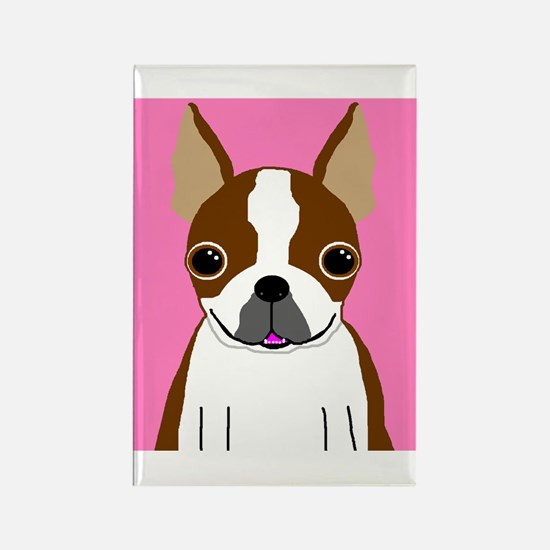 Boston Terrier (Brown) Rectangle Magnet