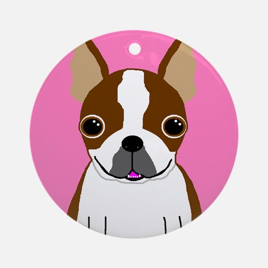 Boston Terrier (Brown) Ornament (Round)