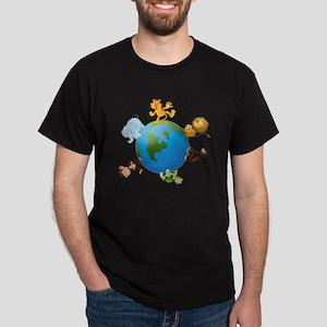 various animals on earth globe T-Shirt
