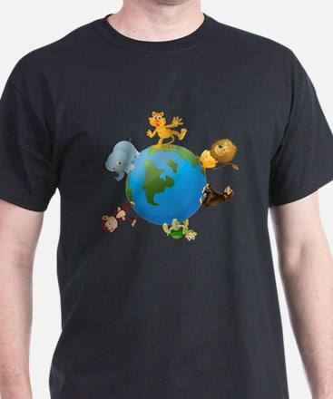 various animals on earth globe T-Shirt