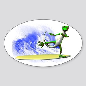 Surfing Gecko Sticker (Oval)