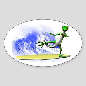 Surfing Gecko Sticker (Oval)