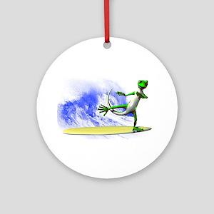 Surfing Gecko Ornament (Round)