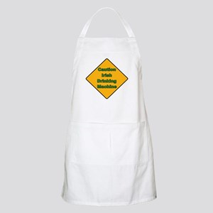 Caution Irish Drinking Machine BBQ Apron