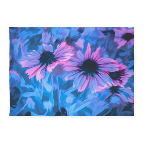 pink and blue daisies 5 39 x7 39 area rug by admin cp113483648. Black Bedroom Furniture Sets. Home Design Ideas