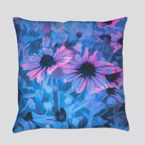 Pink and Blue Daisies Everyday Pillow