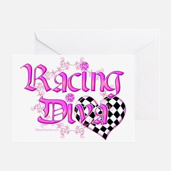 Racing Diva Pink Greeting Card