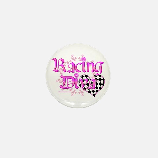 Racing Diva Pink Mini Button