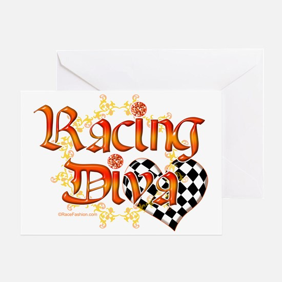 Racing Diva Orange Greeting Card