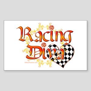 Racing Diva Orange Rectangle Sticker