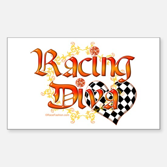 Racing Diva Orange Rectangle Decal