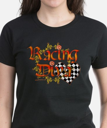 Racing Diva Orange Women's Dark T-Shirt