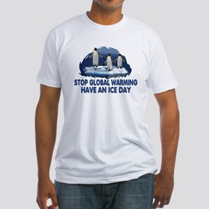 Anti Global Warming Penguins Fitted T-Shirt