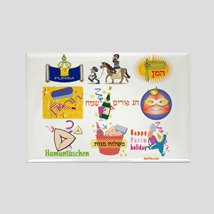 Happy Purim Collage Rectangle Magnet