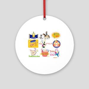 Happy Purim Collage Ornament (Round)