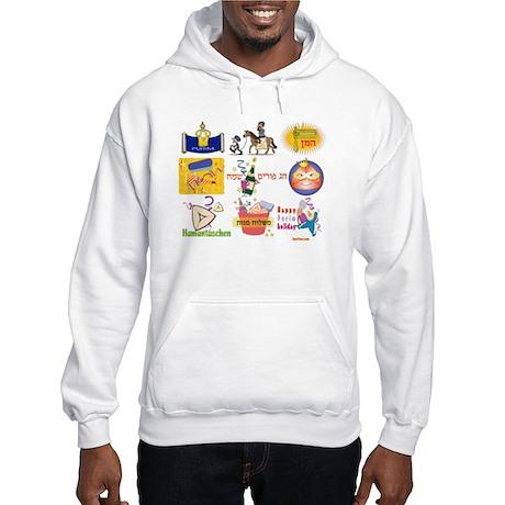 Happy Purim Collage Hooded Sweatshirt