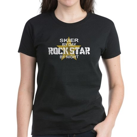 Skier RockStar by Night Women's Dark T-Shirt