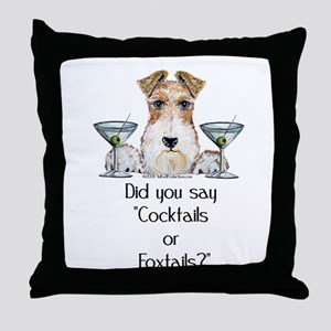 Wire Fox Terrier Martini Throw Pillow