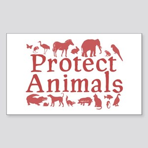 Protect Animals Rectangle Sticker