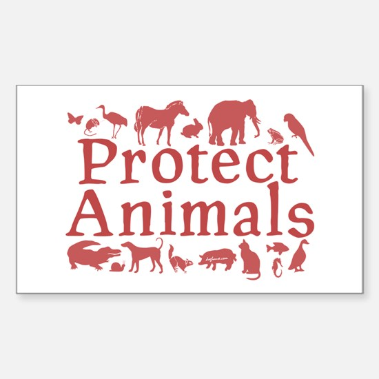 Protect Animals Rectangle Decal